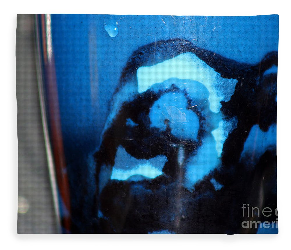 Abstract Fleece Blanket featuring the photograph Blue Instant by Karen Adams