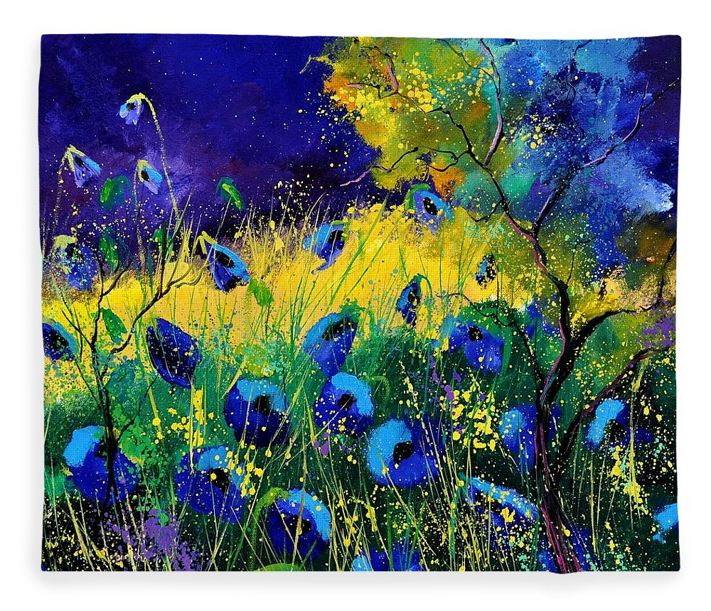 Landscape Fleece Blanket featuring the painting Blue poppies 7741 by Pol Ledent