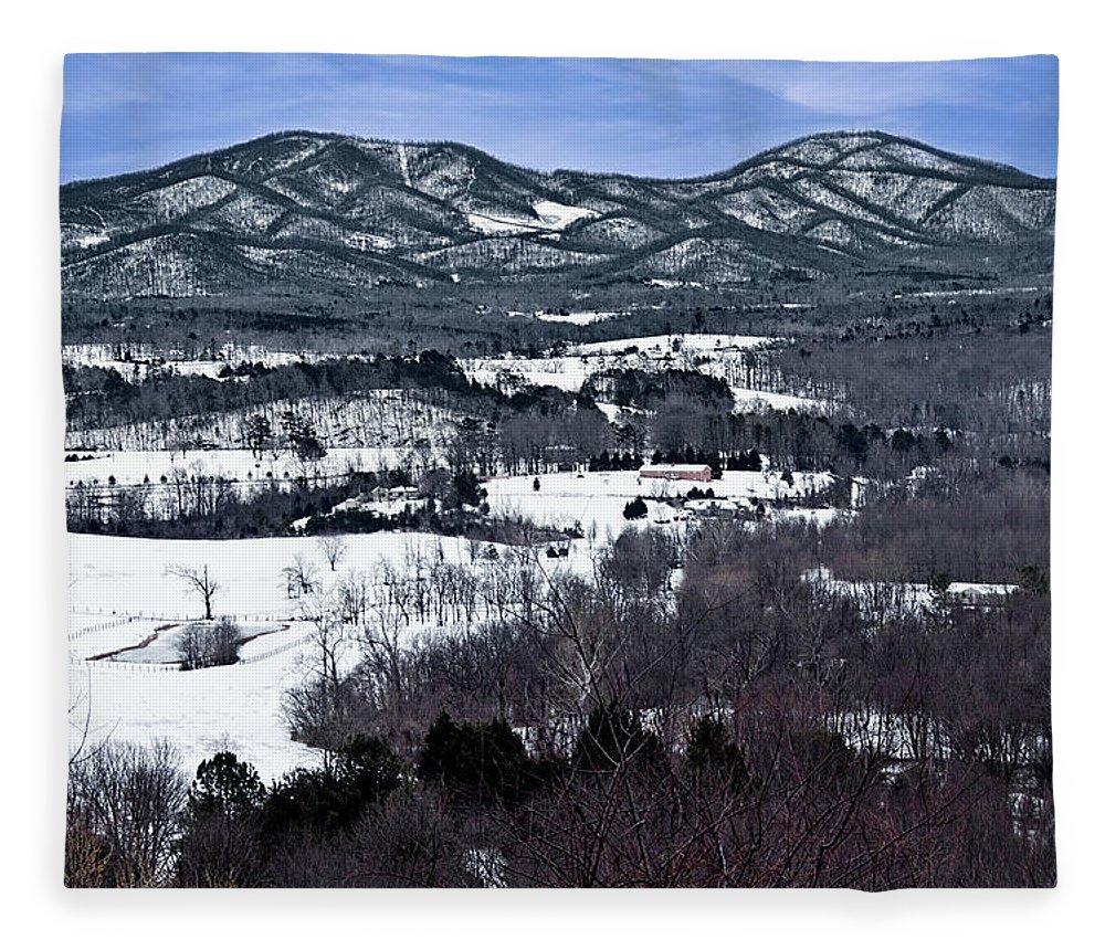 Blue Ridge Vista Fleece Blanket featuring the photograph Blue Ridge Vista by Jemmy Archer