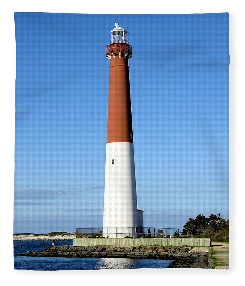 Barnegat Lighthouse Fleece Blanket featuring the photograph Blue Sky Blue Sea And Barnegat Light by Christiane Schulze Art And Photography