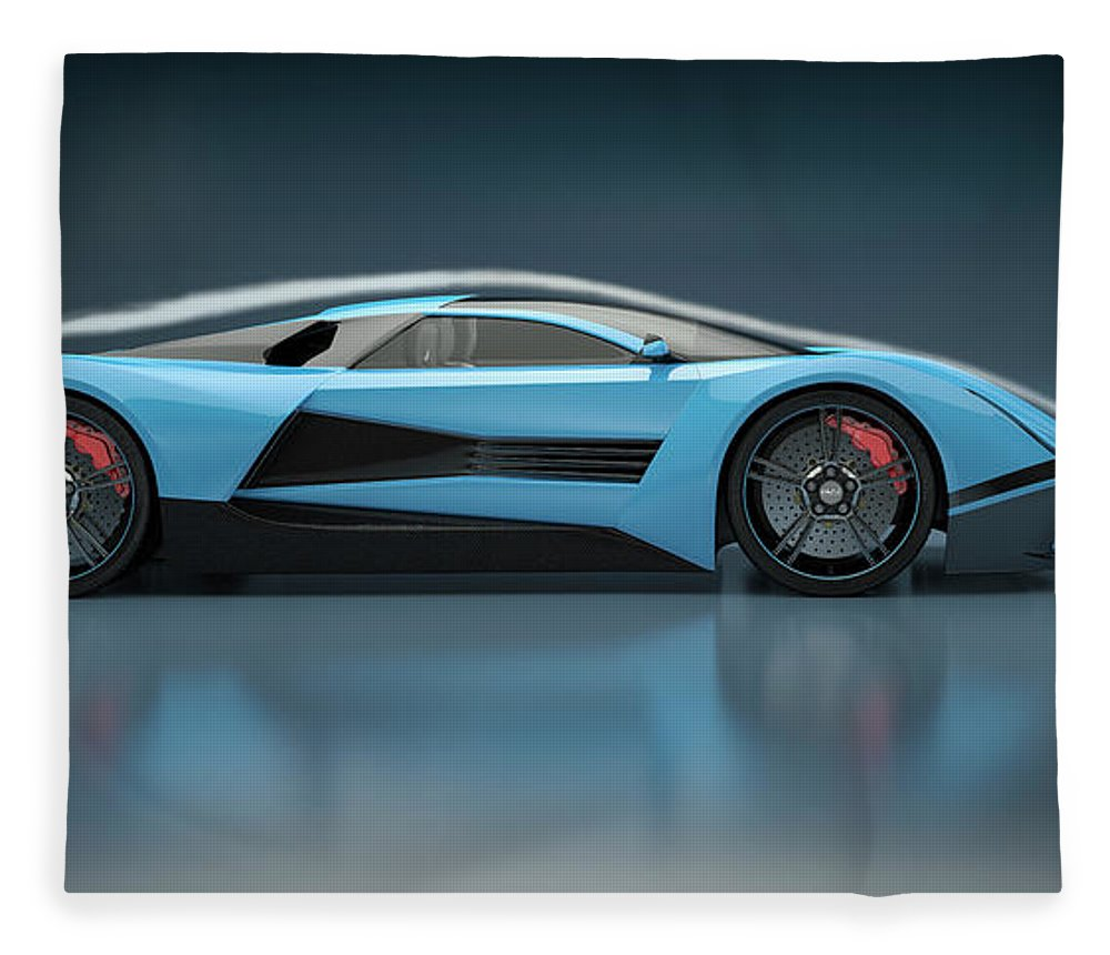 Aerodynamic Fleece Blanket featuring the photograph Blue Sports Car In A Wind Tunnel by Mevans
