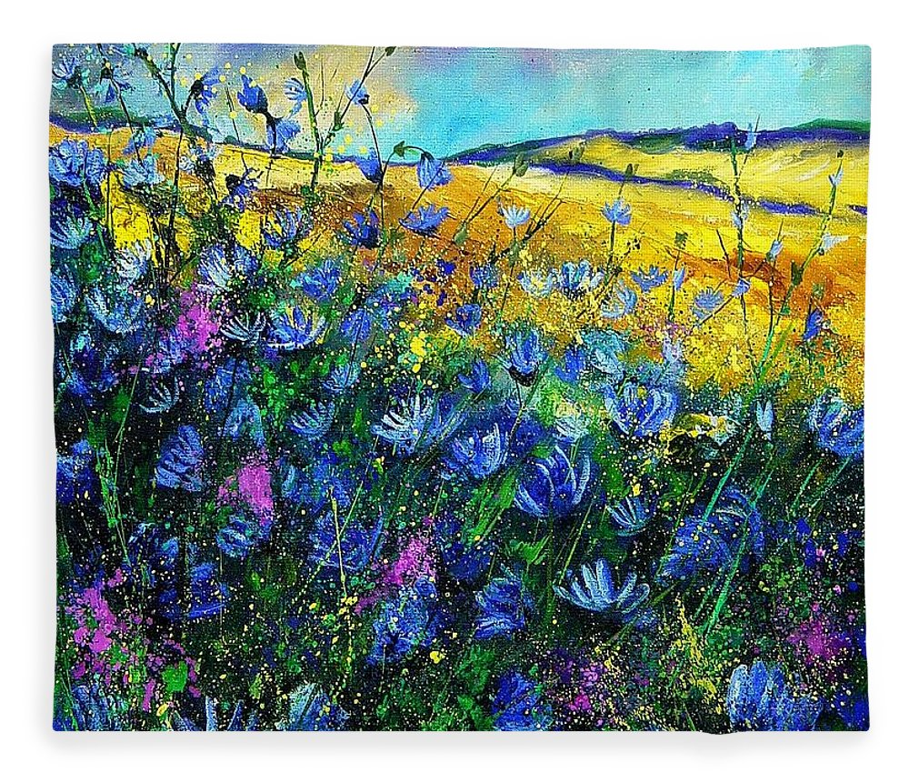 Flowers Fleece Blanket featuring the painting Blue wild chicorees by Pol Ledent