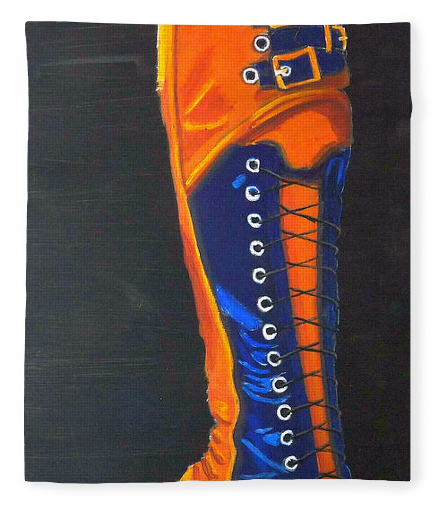 Blue Fleece Blanket featuring the painting Blus And Gold Boot by Richard Le Page