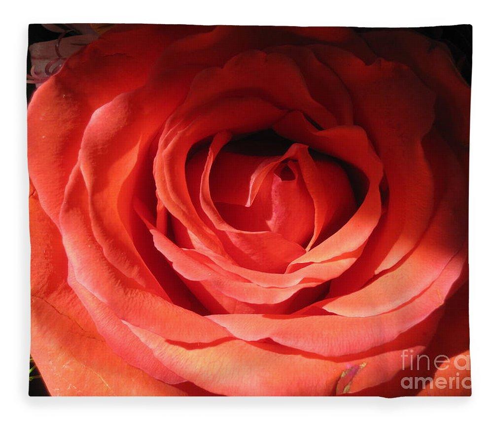 Floral Fleece Blanket featuring the photograph Blushing Orange Rose 3 by Tara Shalton