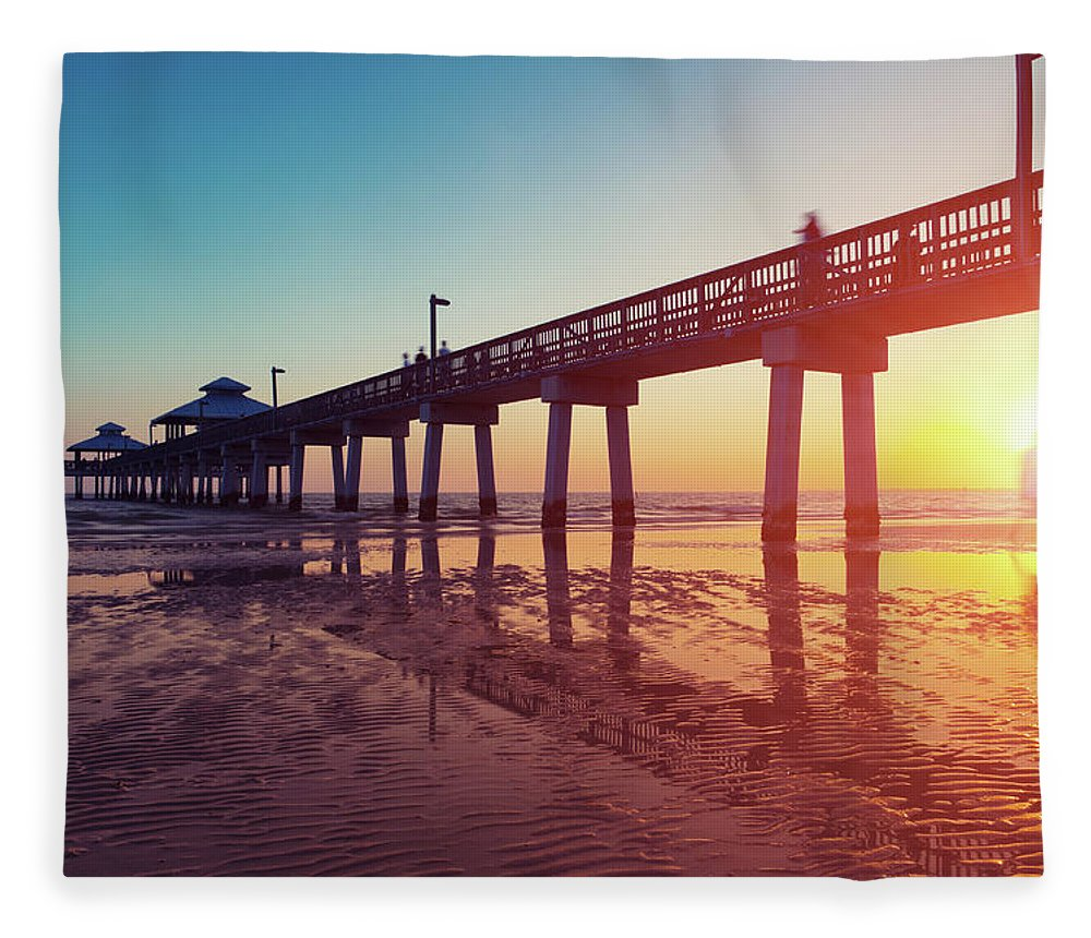 Water's Edge Fleece Blanket featuring the photograph Boardwalk At Sunset While The Sun by Moreiso