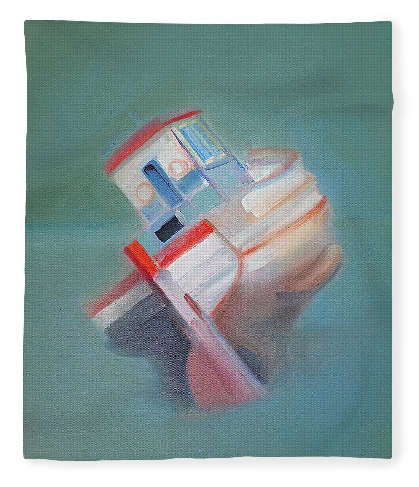 Fishing Boat Fleece Blanket featuring the painting Boat Retired Tavira by Charles Stuart