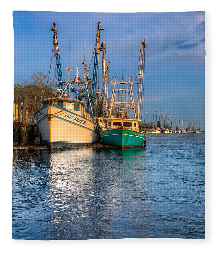 Boats Fleece Blanket featuring the photograph Boats In Blue by Debra and Dave Vanderlaan