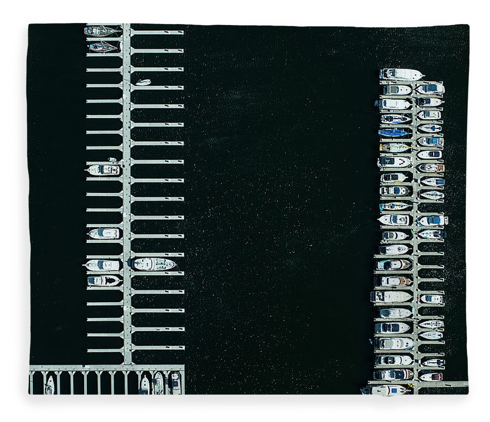 Tranquility Fleece Blanket featuring the photograph Boats In The Harbour by Michael H