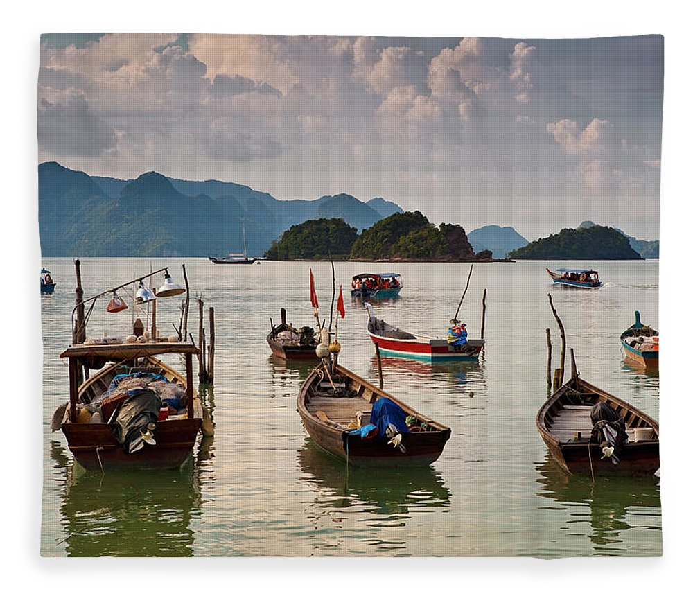 Southeast Asia Fleece Blanket featuring the photograph Boats Moored In Sea, Teluk Baru by Richard I'anson