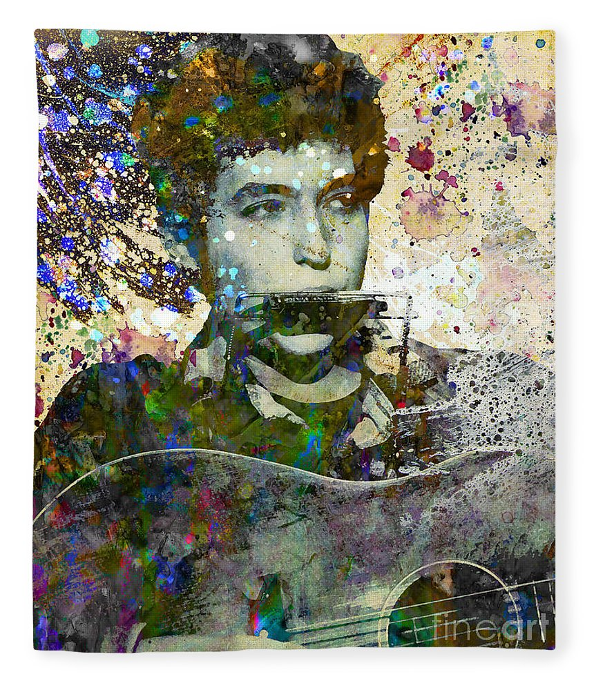 60s Fleece Blanket featuring the painting Bob Dylan Original Painting Print by Ryan Rock Artist