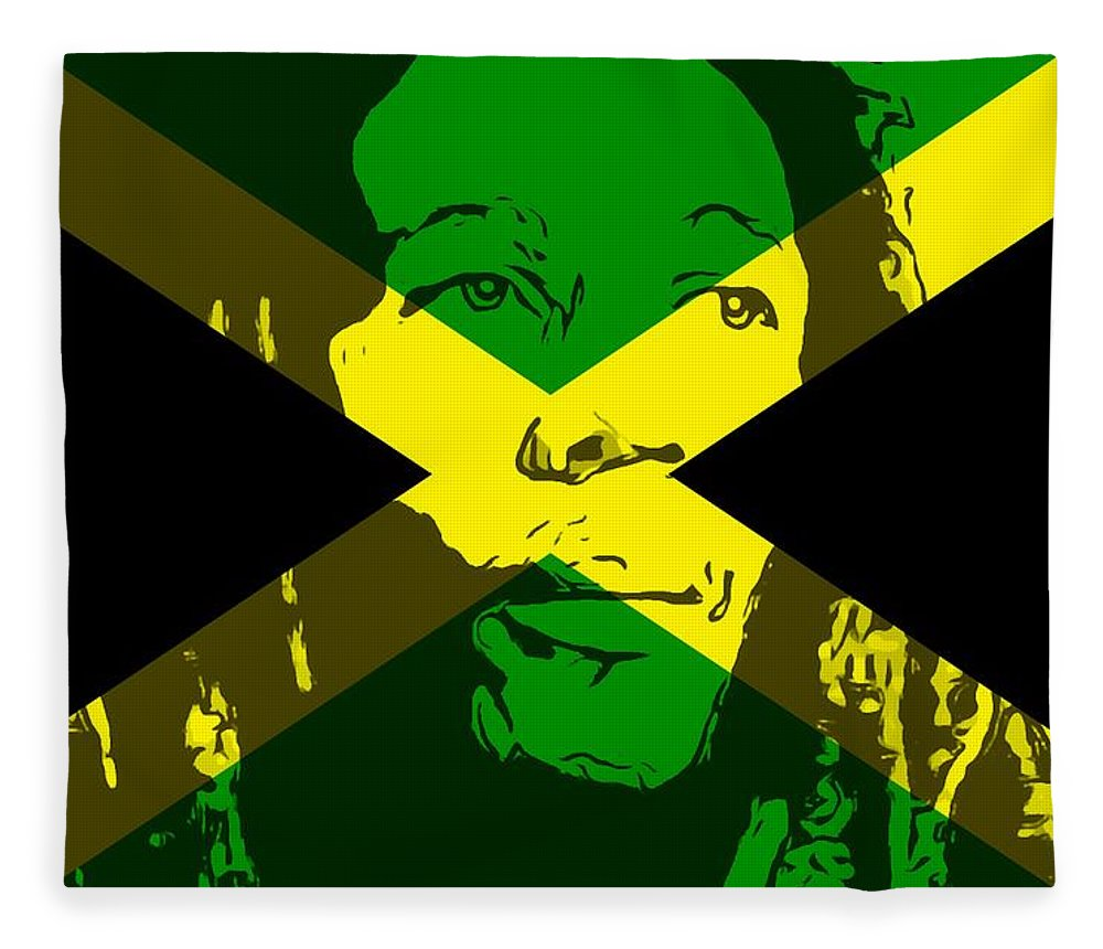 Bob Marley On Jamaican Flag Fleece Blanket for Sale by Dan Sproul