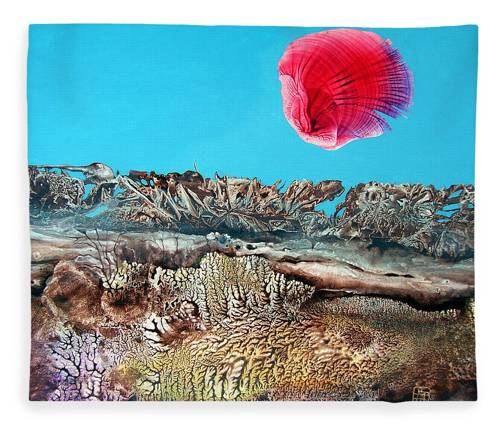 Decalcomania Fleece Blanket featuring the painting Bogomil Sunrise 2 by Otto Rapp