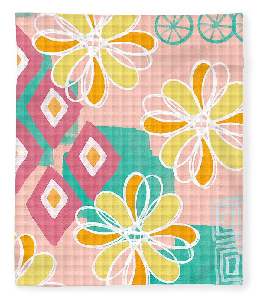 Pink Fleece Blanket featuring the painting Boho Floral Garden by Linda Woods
