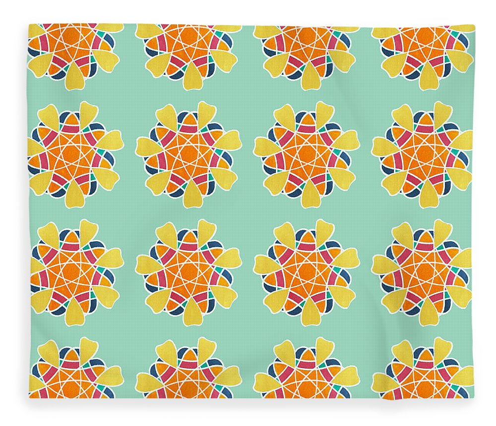 Boho Fleece Blanket featuring the painting Boho Mandala Print by Linda Woods