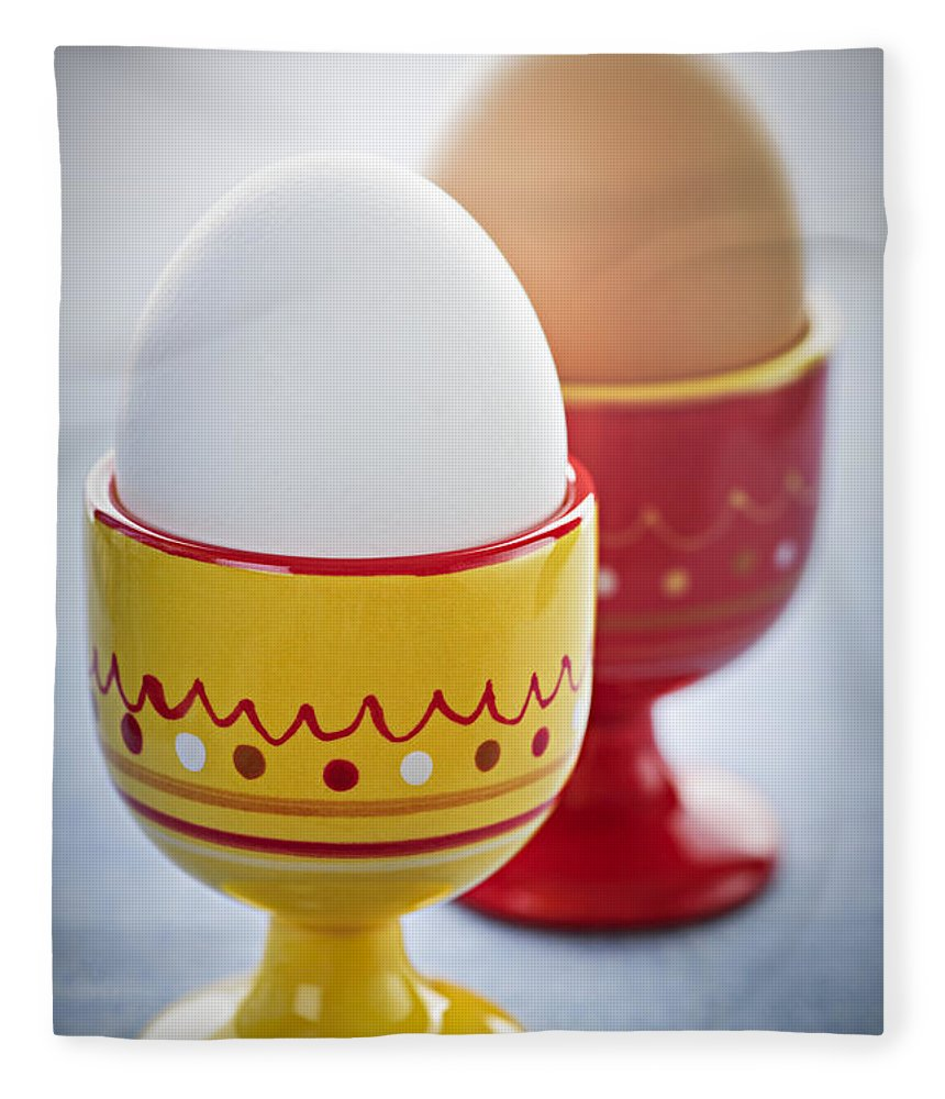 Eggs Fleece Blanket featuring the photograph Boiled Eggs In Cups by Elena Elisseeva