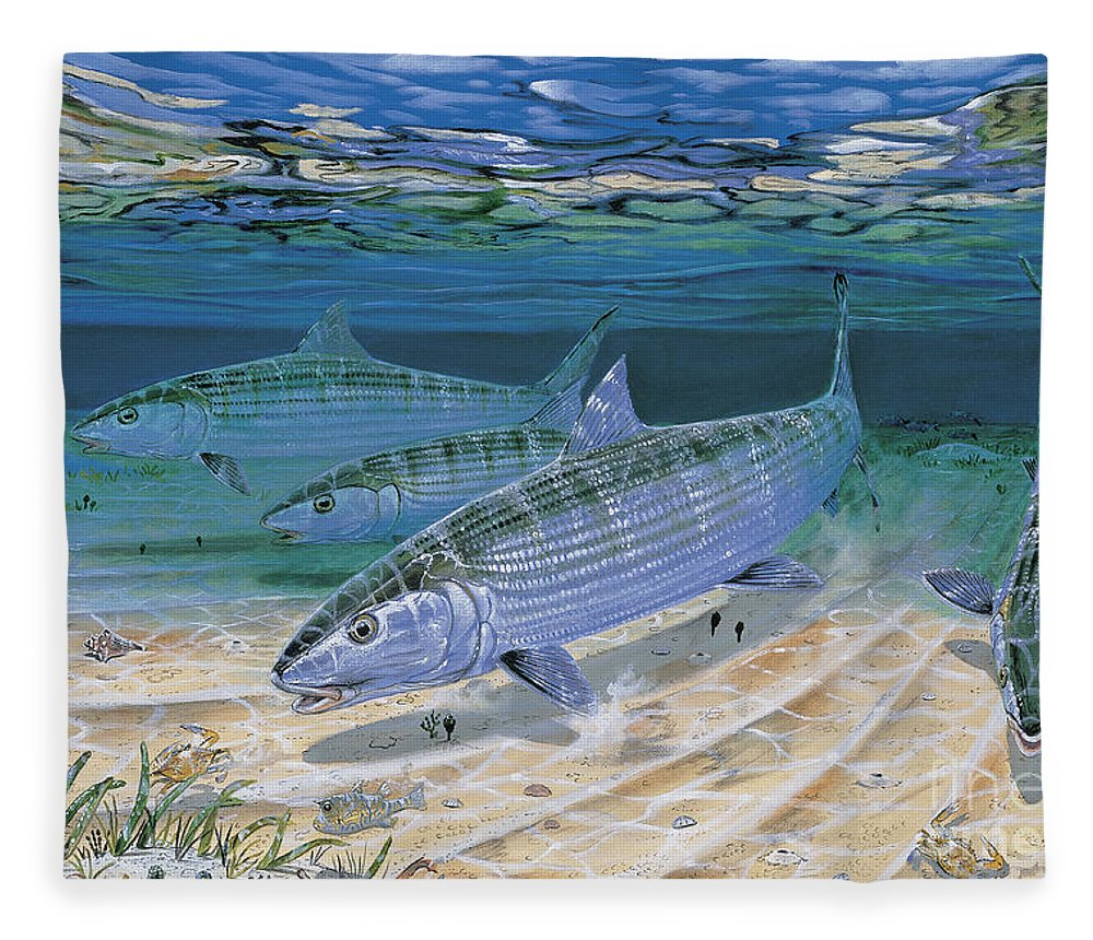 Bonefish Fleece Blanket featuring the painting Bonefish Flats In002 by Carey Chen