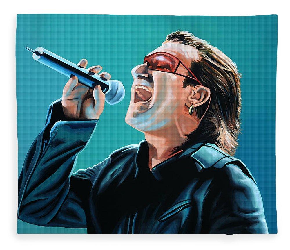U2 Fleece Blanket featuring the painting Bono Of U2 Painting by Paul Meijering