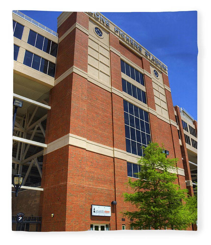 Boone Fleece Blanket featuring the photograph Boone Pickens Stadium by Ricky Barnard