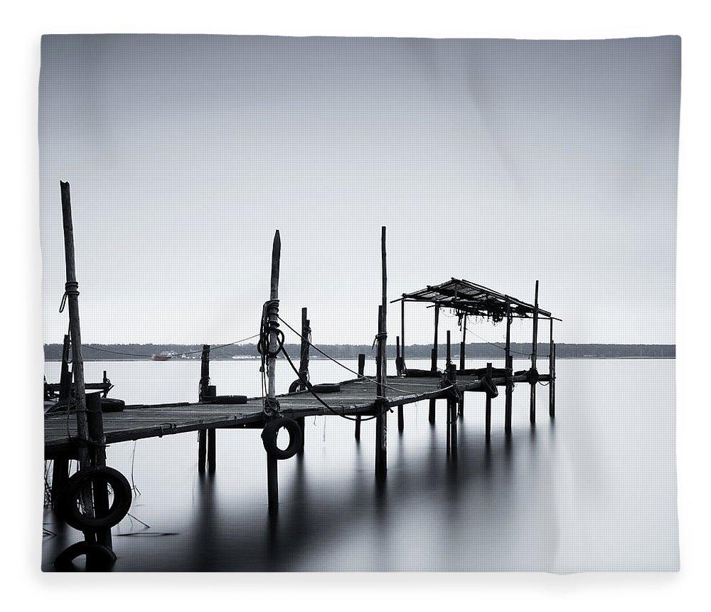 Tranquility Fleece Blanket featuring the photograph Bootssteg Im Alten Hafen Klein Zicker by Spreephoto.de