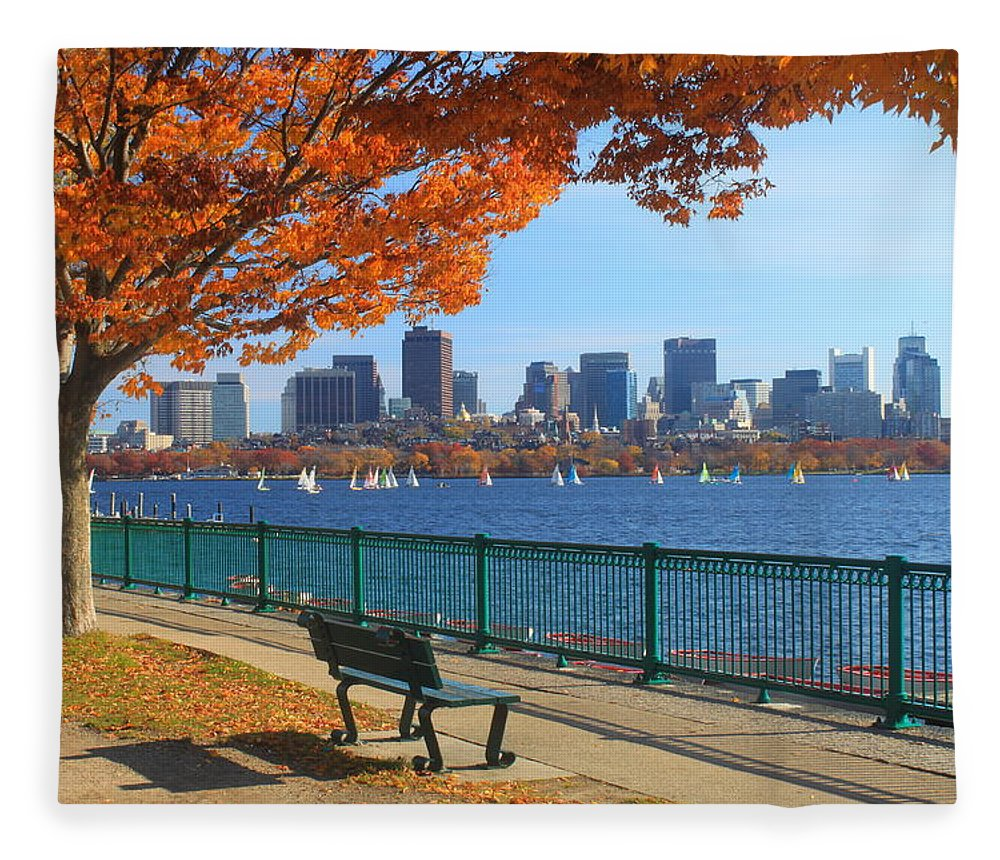 Boston Fleece Blanket featuring the photograph Boston Charles River in Autumn by John Burk