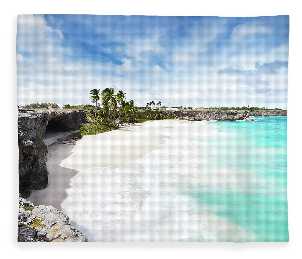 Scenics Fleece Blanket featuring the photograph Bottom Bay, Barbados by Tomml