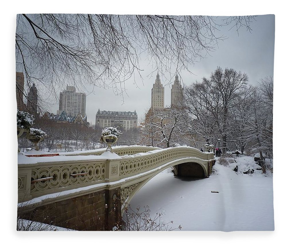 Landscape Fleece Blanket featuring the photograph Bow Bridge Central Park in Winter by Vivienne Gucwa
