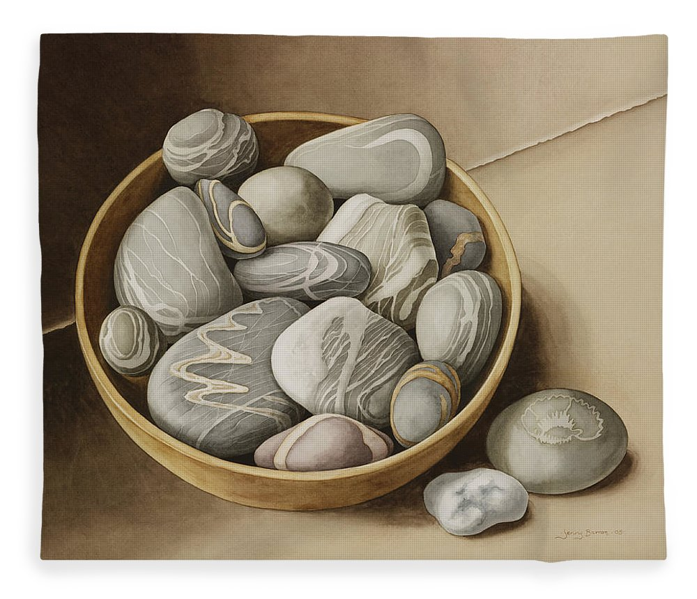 Still Life Fleece Blanket featuring the painting Bowl Of Pebbles by Jenny Barron
