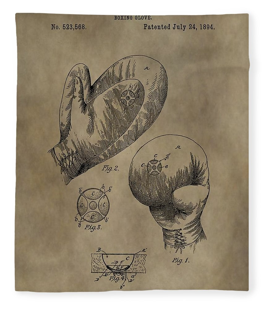 Boxing Gloves Patent Fleece Blanket featuring the digital art Boxing Gloves Patent by Dan Sproul