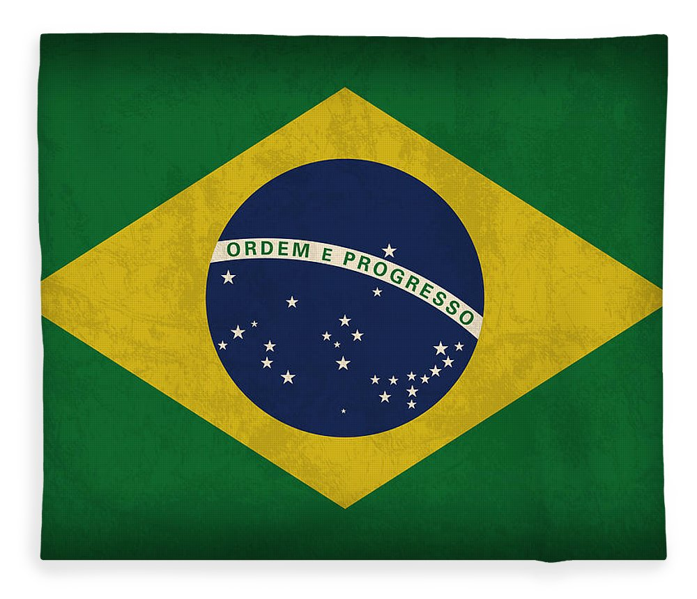 Brazil Flag Fleece Blanket featuring the mixed media Brazil Flag Vintage Distressed Finish by Design Turnpike
