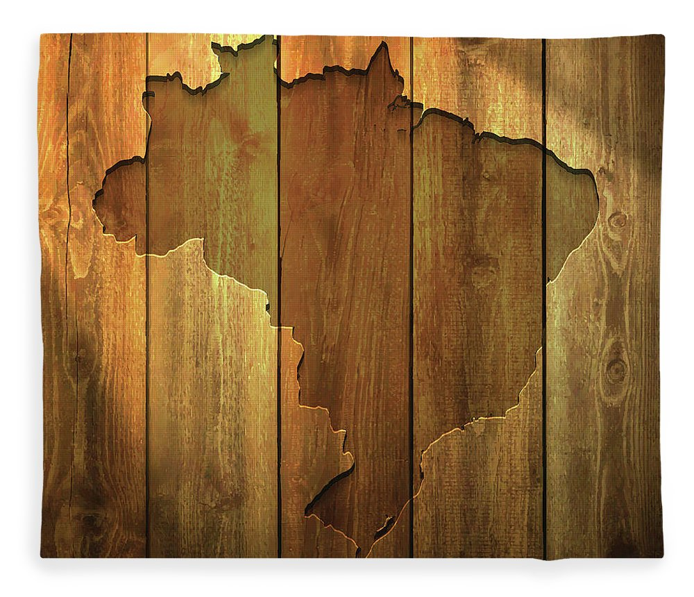 Material Fleece Blanket featuring the digital art Brazil Map On Lit Wooden Background by Bgblue