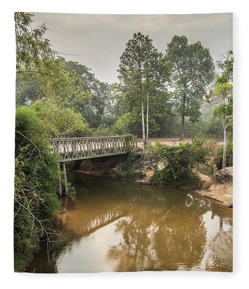 Tranquility Fleece Blanket featuring the photograph Bridge Over Siem Reap River On The Road by Cultura Exclusive/gary Latham