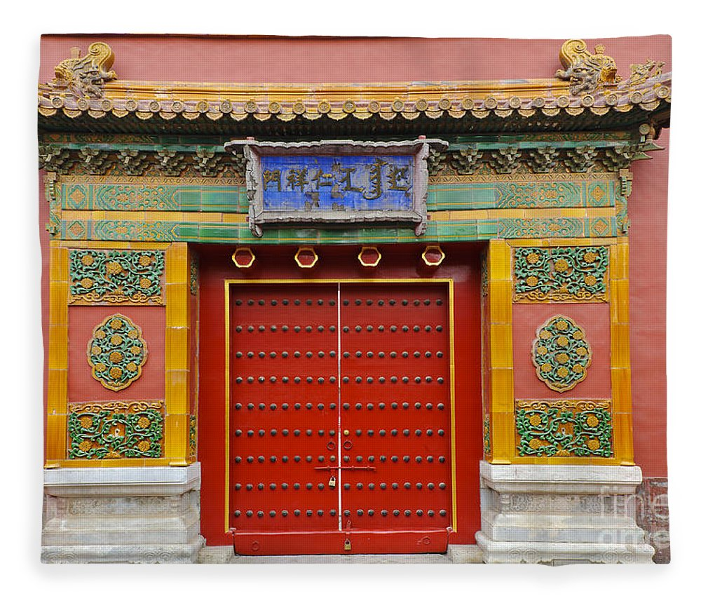 Asian Decor Fleece Blanket featuring the photograph Bright Doorway by John Shaw