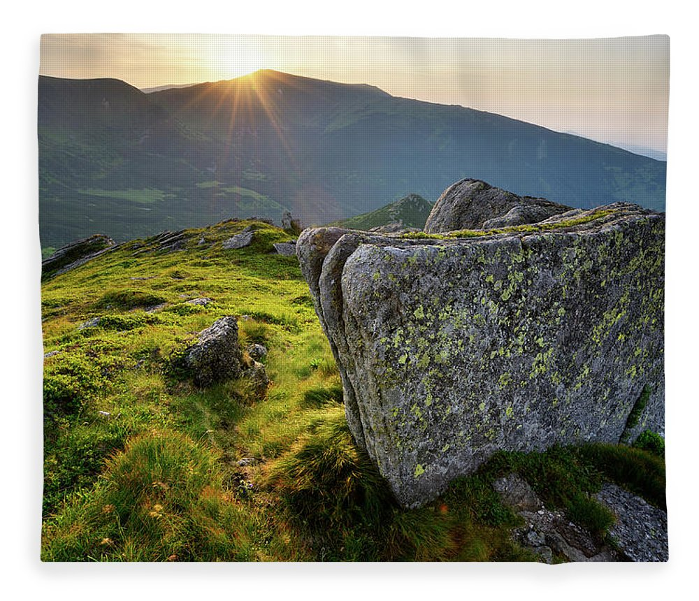 Scenics Fleece Blanket featuring the photograph Bright Sunset Landscape In Mountains by Rezus