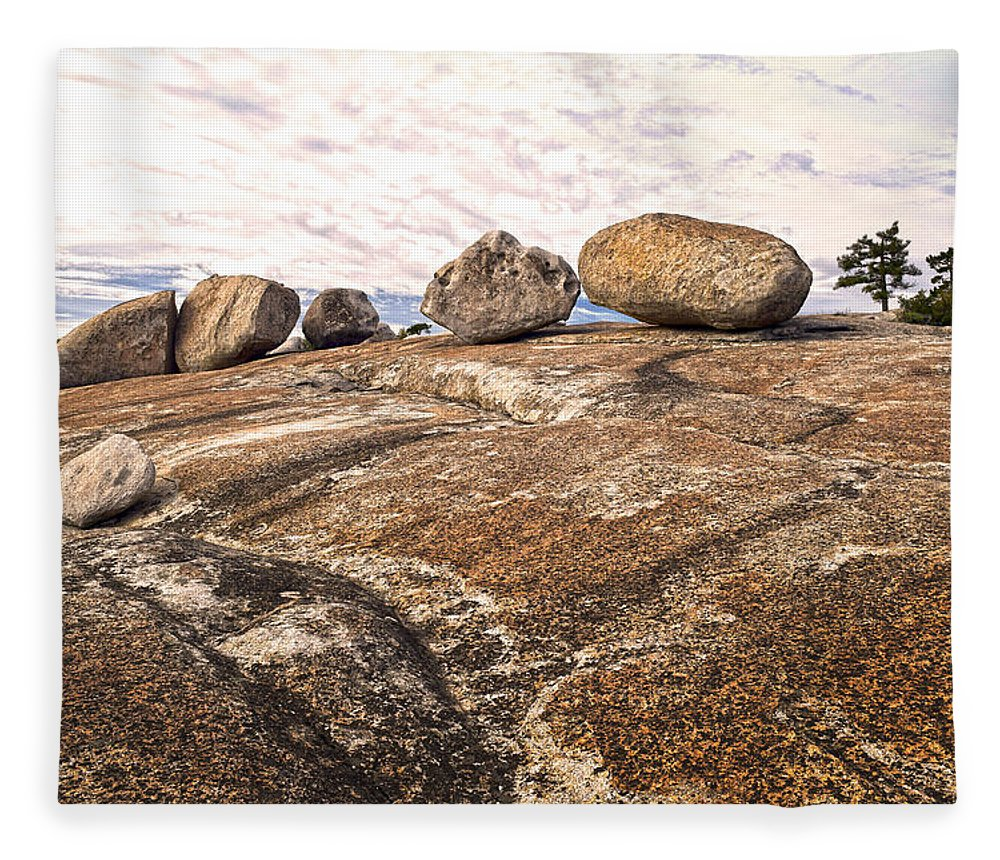 Bald Rock Dome Fleece Blanket featuring the photograph Broken Glacial Erratics by Frank Wilson