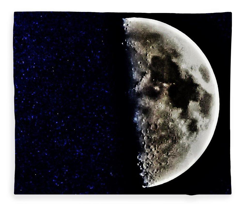 Moon Fleece Blanket featuring the photograph Broken by Marianna Mills
