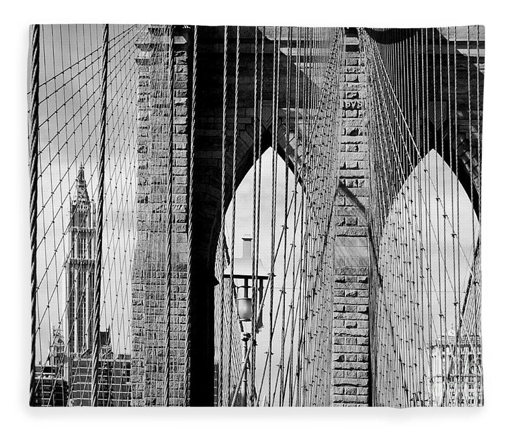 New York City Fleece Blanket featuring the photograph Brooklyn Bridge New York City Usa by Sabine Jacobs