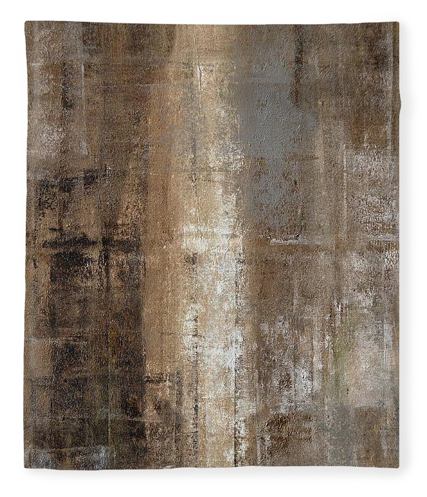 Brown Fleece Blanket featuring the painting Slender - Grey and Brown Abstract Art Painting by CarolLynn Tice