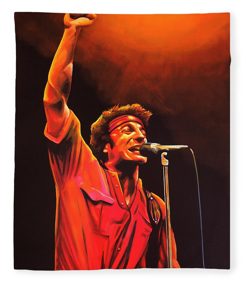 Bruce Springsteen Fleece Blanket featuring the painting Bruce Springsteen Painting by Paul Meijering