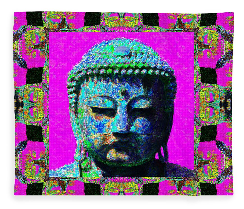 Religion Fleece Blanket featuring the photograph Buddha Abstract Window 20130130p0 by Wingsdomain Art and Photography