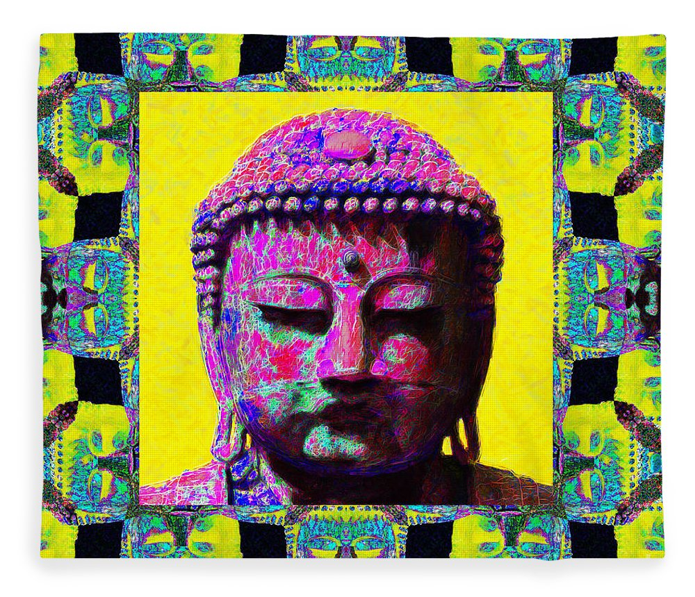 Religion Fleece Blanket featuring the photograph Buddha Abstract Window 20130130p120 by Wingsdomain Art and Photography