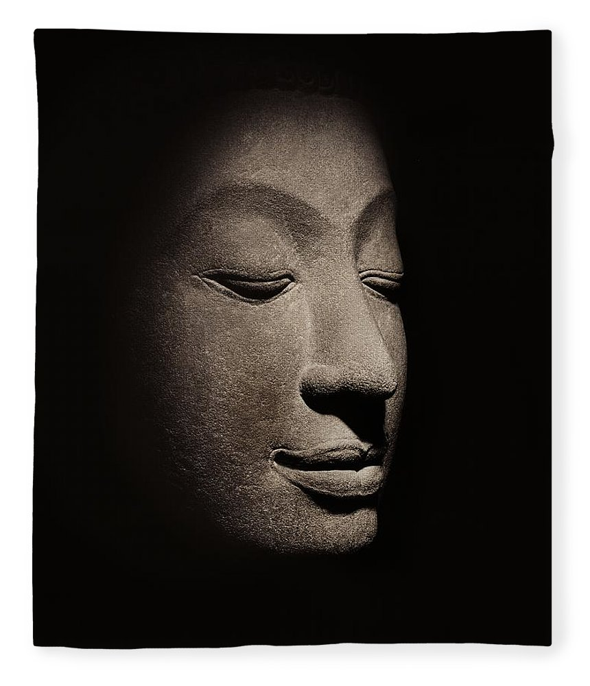 Buddha Fleece Blanket featuring the photograph Buddha Head From The Early Ayutthaya Period by Siamese School