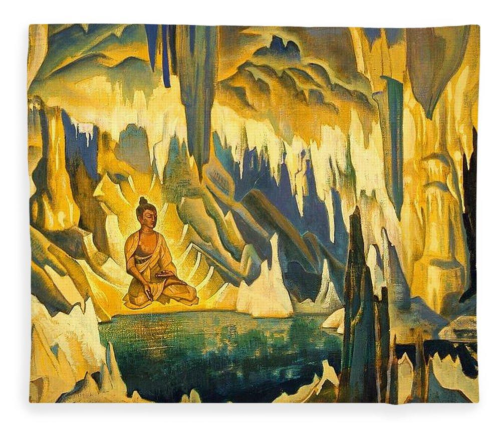 Buddha The Winner Fleece Blanket for Sale by Nicholas Roerich