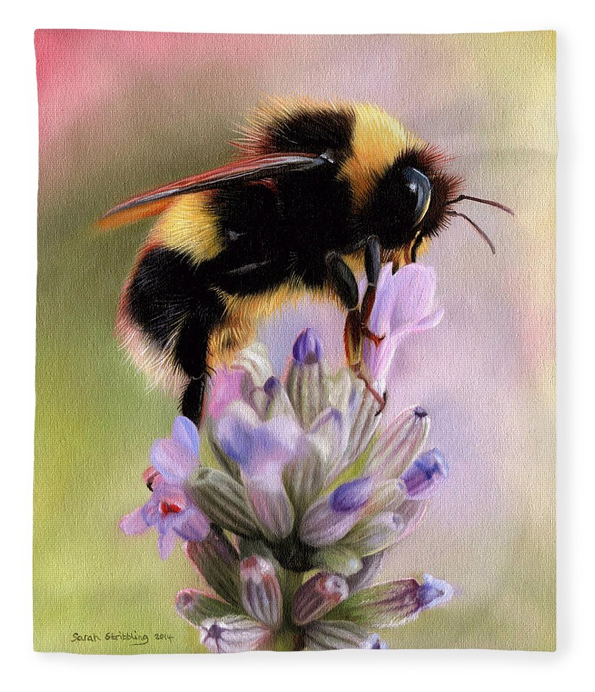 Bumble Bee Fleece Blanket featuring the painting Bumble bee on lavender by Sarah Stribbling
