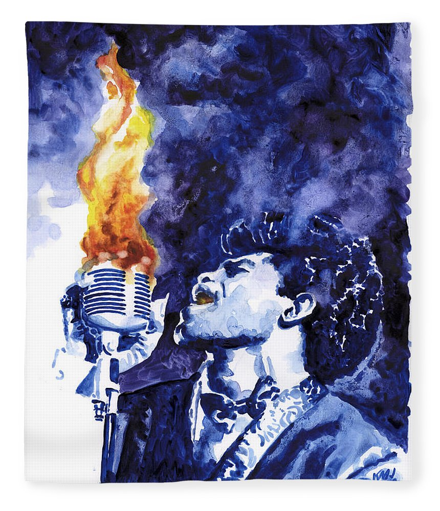 James Brown Fleece Blanket featuring the painting Burning Soul Brown by Ken Meyer jr