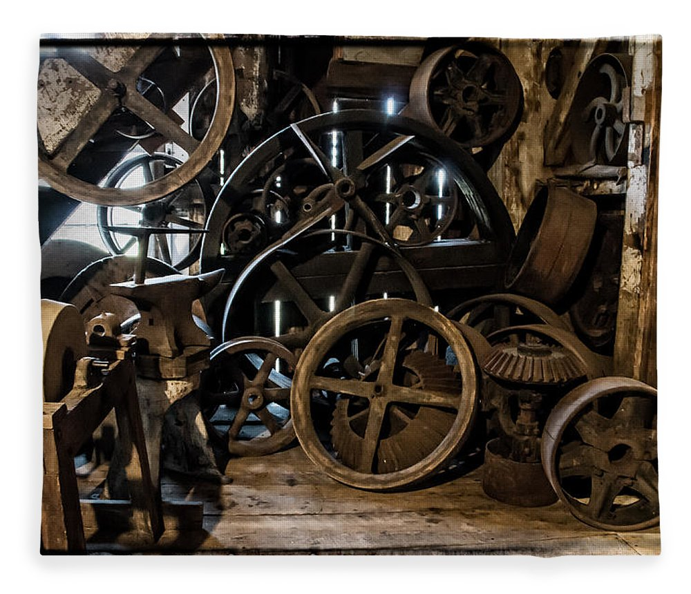 Special Effect Fleece Blanket featuring the photograph Butte Creek Mill Interior Scene by Mick Anderson
