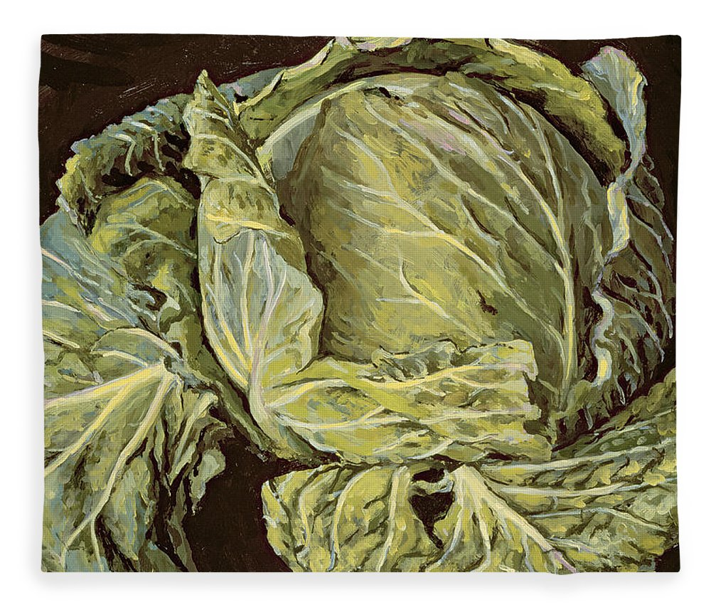 Still-life Fleece Blanket featuring the painting Cabbage Still Life by Vincent Yorke