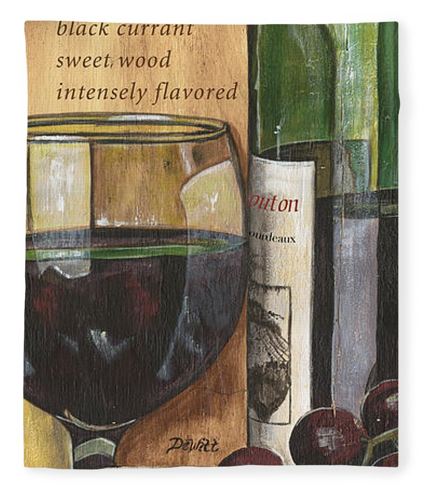 Cabernet Fleece Blanket featuring the painting Cabernet Sauvignon by Debbie DeWitt