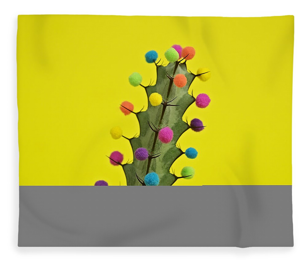 Celebration Fleece Blanket featuring the photograph Cactus Decorated With Puffballs by Juj Winn