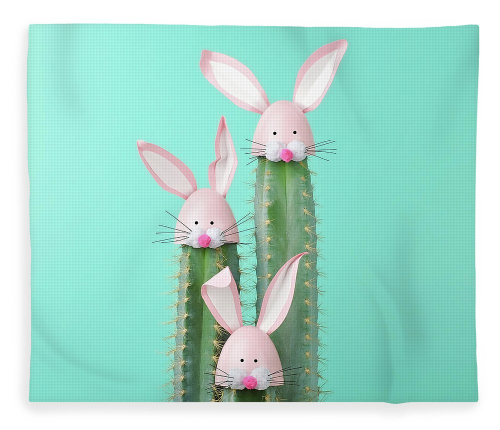 Easter Bunny Fleece Blanket featuring the photograph Cactus With Easter Rabbit Decorations by Juj Winn