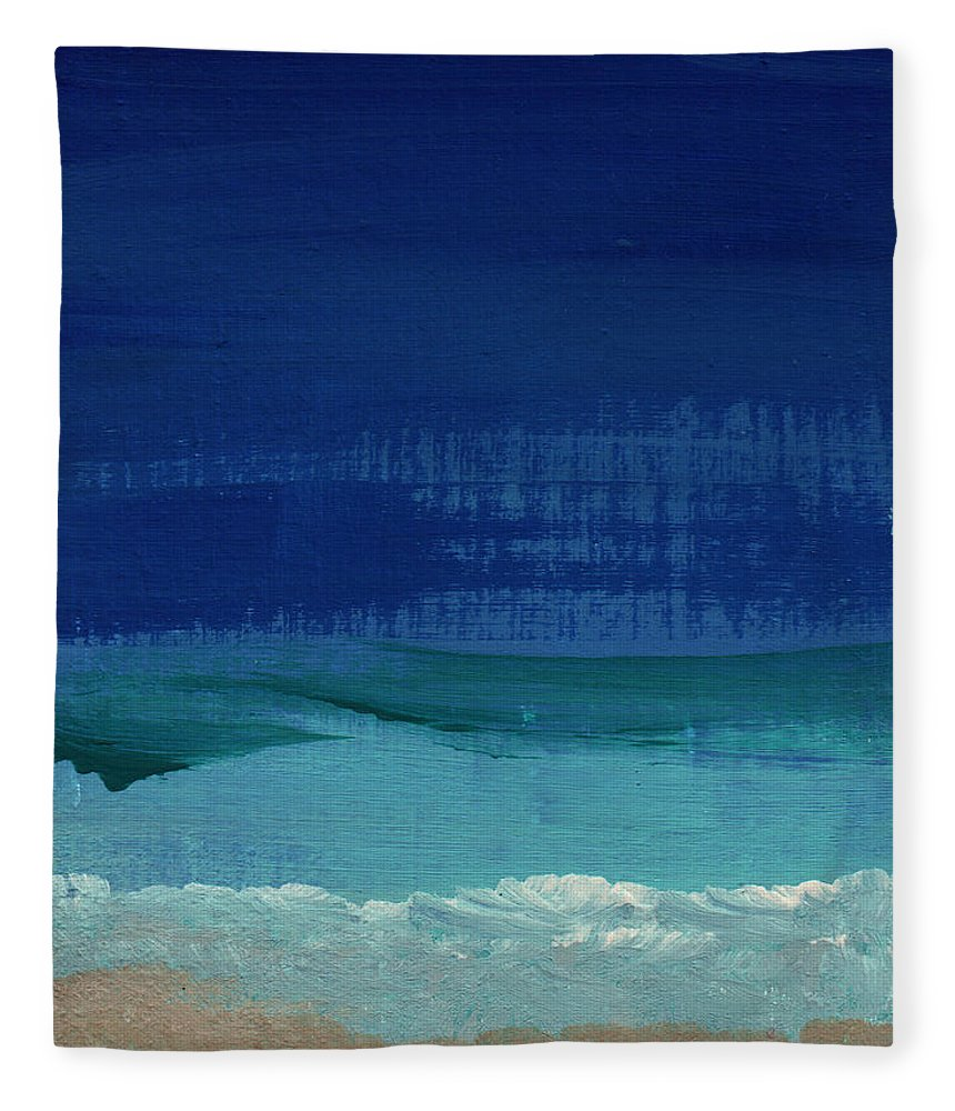 Abstract Art Fleece Blanket featuring the painting Calm Waters- Abstract Landscape Painting by Linda Woods